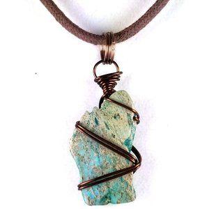 Men's Small Pendant Necklace Greenish Brown Jasper